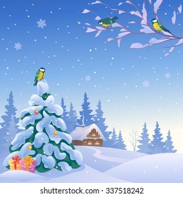 Vector cartoon drawing of a cute winter scene with a small snow covered house and a Christmas tree with gifts, snowy wonderland background