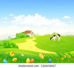 Vector cartoon drawing of an Easter scene with eggs and a chicken in the grass, spring country scenery