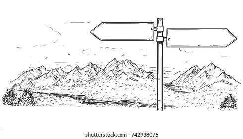 Vector cartoon drawing of empty blank road traffic sign in mountain area.