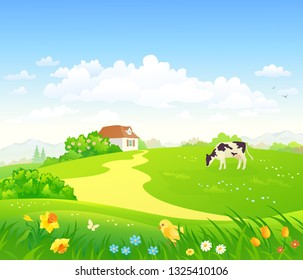 Vector cartoon drawing of a green country scenery with a grazing cow, a cute chicken and spring flowers