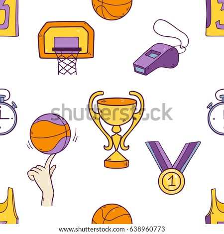 Vector cartoon drawing seamless pattern with basketball  sport elements like ball, golden medal, uniform, net, shoes and so on