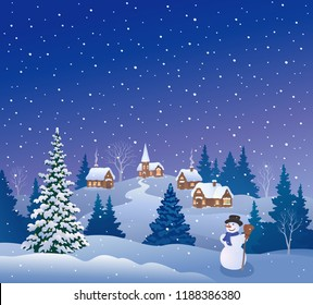 Vector cartoon drawing of a snow covered village and a cute snowman, beautiful Christmas background