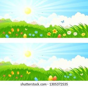 Vector cartoon drawing of a spring landscape with Easter eggs in the grass, beautiful sunrise banners