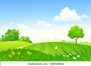 Vector cartoon drawing of a spring pasture, green field landscape