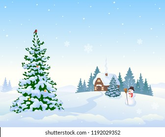 Vector cartoon drawing of a winter landscape background with a snow covered small cottage and Christmas tree