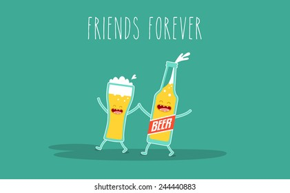 Vector cartoon. Drink beer. Friends forever. Glass of beer with bottle of beer. You can use in the menu, in the shop, in the bar, the card or stickers.