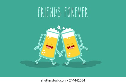 Vector cartoon. Drink beer. Friends forever. Glass of beer. You can use in the menu, in the shop, in the bar, the card or stickers.
