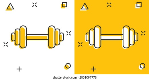 Vector cartoon dumbbell fitness gym icon in comic style. Barbell concept illustration pictogram. Bodybuilding sport business splash effect concept.