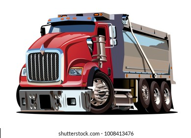 Vector Cartoon Dump Truck. Available eps-10 vector format separated by groups with transparency effects for one-click repaint