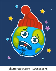 Vector cartoon earth planet chilly frozen in hat