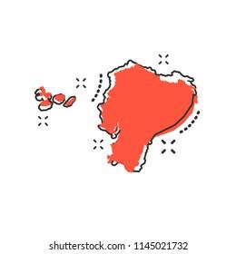 Vector cartoon Ecuador map icon in comic style. Ecuador sign illustration pictogram. Cartography map business splash effect concept.