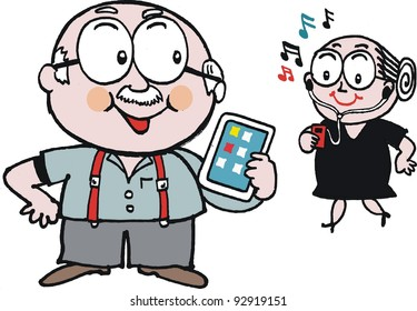 Vector cartoon of elderly man and woman with hi-tech gadgets