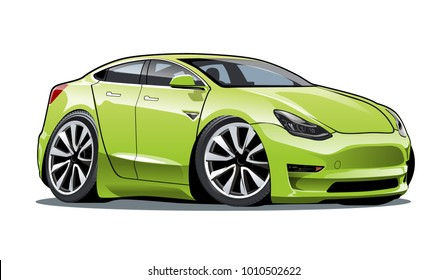 Vector cartoon electric car. Available EPS-10 separated by groups and layers with transparency effects for one-click repaint