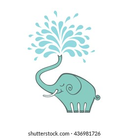 Vector cartoon elephant with color fountain.Original sign with concept of idea and creativity. Decorative illustration for print, web