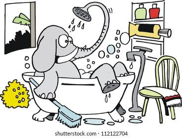 Vector cartoon of elephant having a bath.