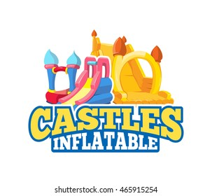 Vector cartoon emblem of inflatable castles and children hills on playground. Pictures for your personal design project with place for your text. Isolate on light background