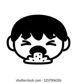 Vector Cartoon Emoji Character Puking Isolated On White Background