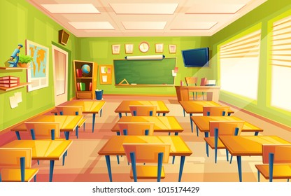 Vector cartoon empty elementary or high school, college, university classroom background. Illustration with room interior indoor objects - desk table board chair tv set. Learning, education backdrop