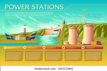 Vector cartoon energy stations alternative, renewable traditional infographics template. Illustration solar panel plant hydroelectric power dam windmill turbines, nuclear power reactors, cooling tower