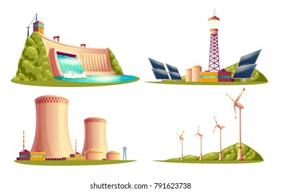 Vector cartoon energy stations - alternative, renewable traditional. Set of isolated illustrations, solar panel plant, hydroelectric power dam, windmill turbines, nuclear power reactors, cooling tower