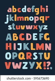 Vector cartoon vector English alphabet A-Z color. Sans hand drawn typeface. Uppercase and lowercase letters set in a different colors on dark background