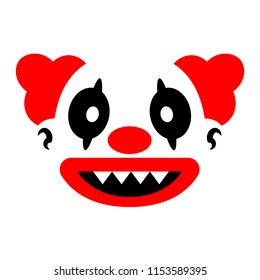 Vector Cartoon Evil Clown Face Isolated On White Background