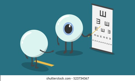vector cartoon eyes test eyesight.Could you read out the letters on the chart, starting at the top