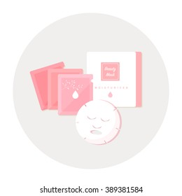 vector cartoon facial mask, package set / flat style, circle, isolated, icon template / pink on white background