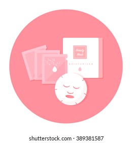 vector cartoon facial mask, package set / flat style, circle, isolated, icon template / pink tone on white background