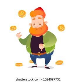 vector cartoon fall of bitcoin sad miner man character illustration
