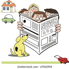 Vector cartoon of family group reading newspaper.