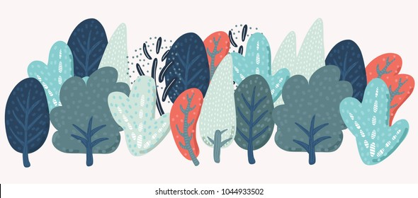Vector cartoon fancy shapes trees forest in vintage colors on white isolated background