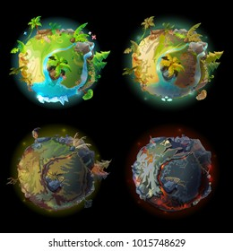 Vector cartoon fantastic planet Earth, world evolution set. Cosmic, space element for game, timeline infographic design. Illustration from burned ground with lava bones to green tropical plants rivers