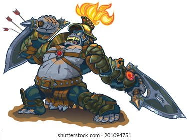 Vector cartoon fantasy illustration of a mighty gorilla warrior in armor with a flaming torch on his helmet. He blocks arrows with his shield blade and in a rage he defies his enemies. Also a bad pun.
