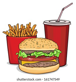 vector cartoon fast food combo - hamburger, french fries, soda