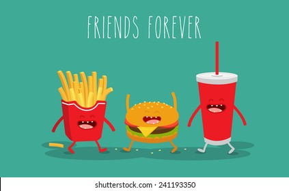 Vector cartoon. fast food. Friends forever. ?amburger, french fries.