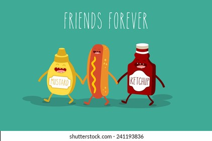 Vector cartoon. fast food. Friends forever. Hot dog, mustard and ketchup.