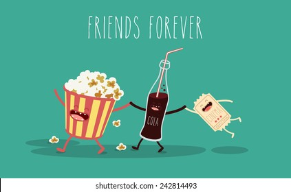 Vector cartoon. fast food. Friends forever. Popcorn, movie ticket, cola, movies, cinema