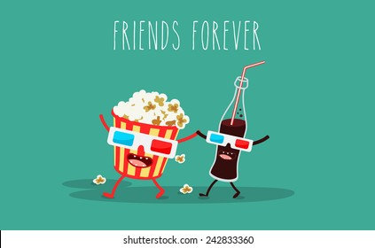 Vector cartoon. fast food. Friends forever. Popcorn, cola, 3D glasses