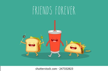 Vector cartoon. fastfood. Sandwich, cola, taco. Friends forever.