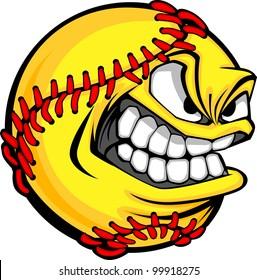 Vector Cartoon Fastpitch Softball with Mean Face