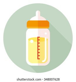 vector cartoon feeding bottle / baby milk bottle flat icon
