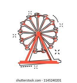 Vector cartoon ferris wheel icon in comic style. Carousel in park sign illustration pictogram. Amusement ride business splash effect concept.