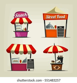 vector cartoon festival street food stall template including coffee snack and fast food for illustration and icon