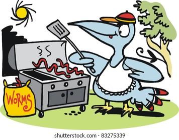 Vector cartoon of fierce bird preparing worm meal on barbecue