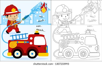 vector cartoon fire rescue coloring 260nw