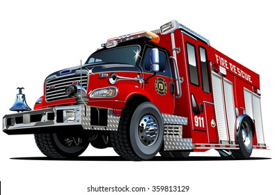 Vector Cartoon Fire Truck. EPS-10 vector format separated by groups and layers for easy edit
