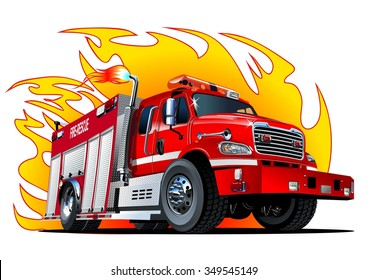 Vector cartoon firetruck. Available EPS-10 vector format separated by groups and layers for easy edit