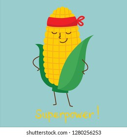 Vector Cartoon flat character of superhero corn in mask and funny hand drawn text Superpower!