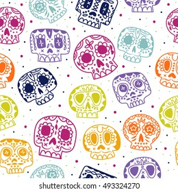 Vector cartoon flat Day of the Dead seamless pattern. Ethnic Mexican sugar skulls background